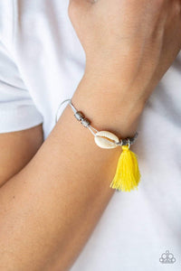 Paparazzi SEA If I Care - Yellow Threaded Tassel White Seashell Gray Cording Bracelet - Bling It On Online