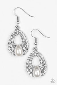 Paparazzi Share The Wealth - White Pearl Teardrop White Rhinestone Silver Earrings - Bling It On Online