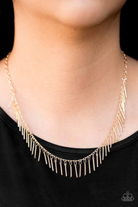 Paparazzi Shes A Beast - Dainty Gold Rod Beading Fringe Necklace - Bling It On Online