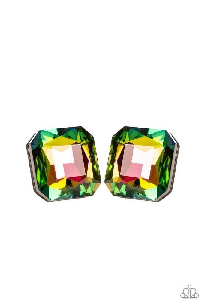 Paparazzi Show Glow – Rainbow Multi Iridescent Gem Gunmetal Earrings - 2019 Exclusive Convention Collection - Bling It On Online