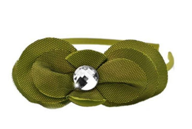 Paparazzi Sleepless In Seattle - White Gem Center Green Satin Flower Headband - Bling It On Online