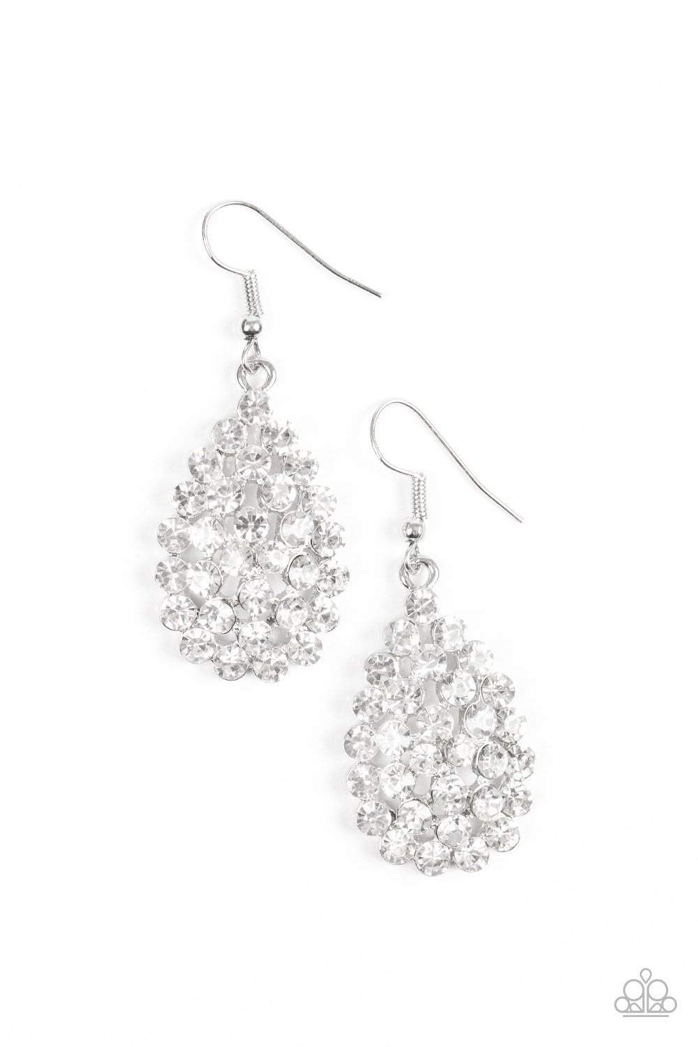 Paparazzi Sparkling Sparkle-naire - White Rhinestone Teardrop Silver Fitting Earrings - Bling It On Online