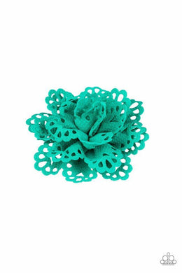 Paparazzi Springing Into Spring - Airy Green Petal Blossom Hair Clip - Bling It On Online