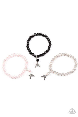 Paparazzi Starlet Shimmer Eiffel Tower Charm Pearl Bead Bracelet - Bling It On Online