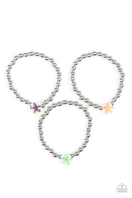 Paparazzi Starlet Shimmer Flower Silver Bead Bracelet - Bling It On Online