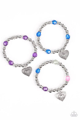 Paparazzi Starlet Shimmer Heart Charm Crystal and Silver Bead Bracelet - Bling It On Online