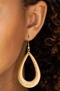 Paparazzi Straight Up Shimmer - Etched Gold Teardrop Earrings - Bling It On Online