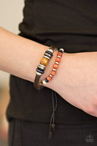 Paparazzi Summer On Replay - Multi Bead Leather and Brown Twine Bracelet - Bling It On Online