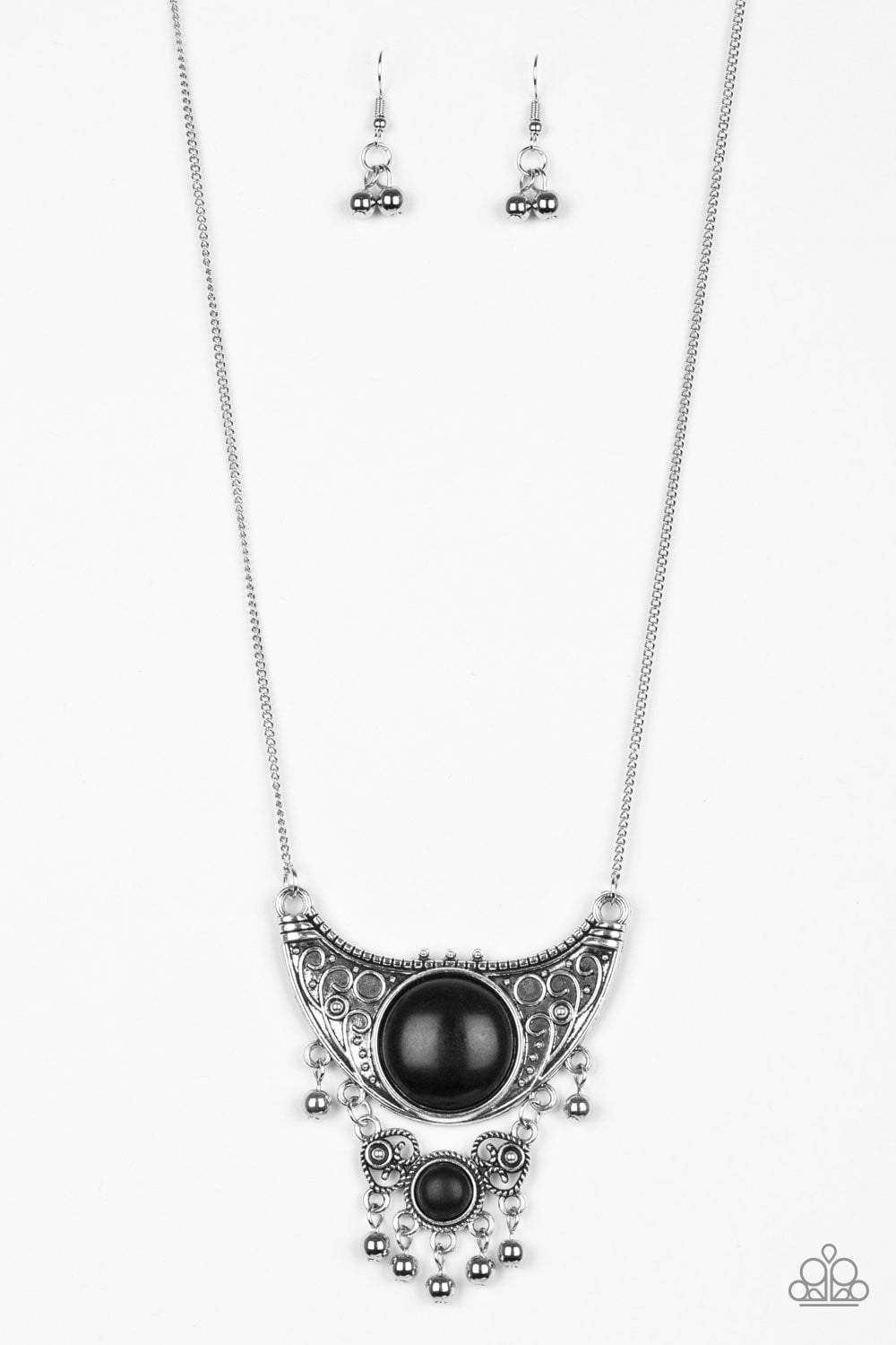 Paparazzi Summit Style - Black Stone Embossed Silver Crescent Necklace - Bling It On Online