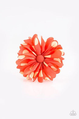 Paparazzi Tea Party Posh - Polka Dot Orange Petal Blossom Hair Clip - Bling It On Online