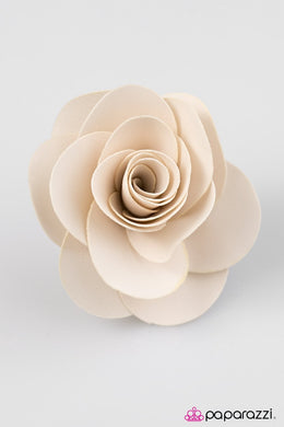 Paparazzi Teachers Pet - Tan Satin Petal Rosebud Hair Clip - Bling It On Online