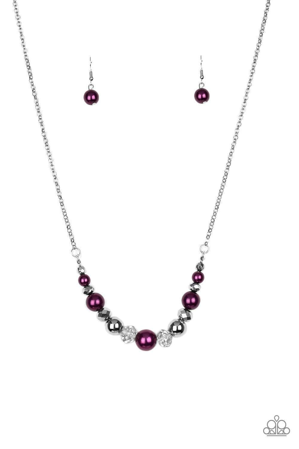 Paparazzi The Big-Leaguer - Purple Silver Hematite Bead Necklace - Bling It On Online