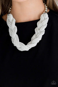 Paparazzi The Great Outback - White Seed Bead Braid Silver Fittings Necklace - Bling It On Online