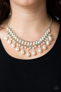 Paparazzi The Guest List - White Pearl Teardrop Fringe Necklace - Bling It On Online