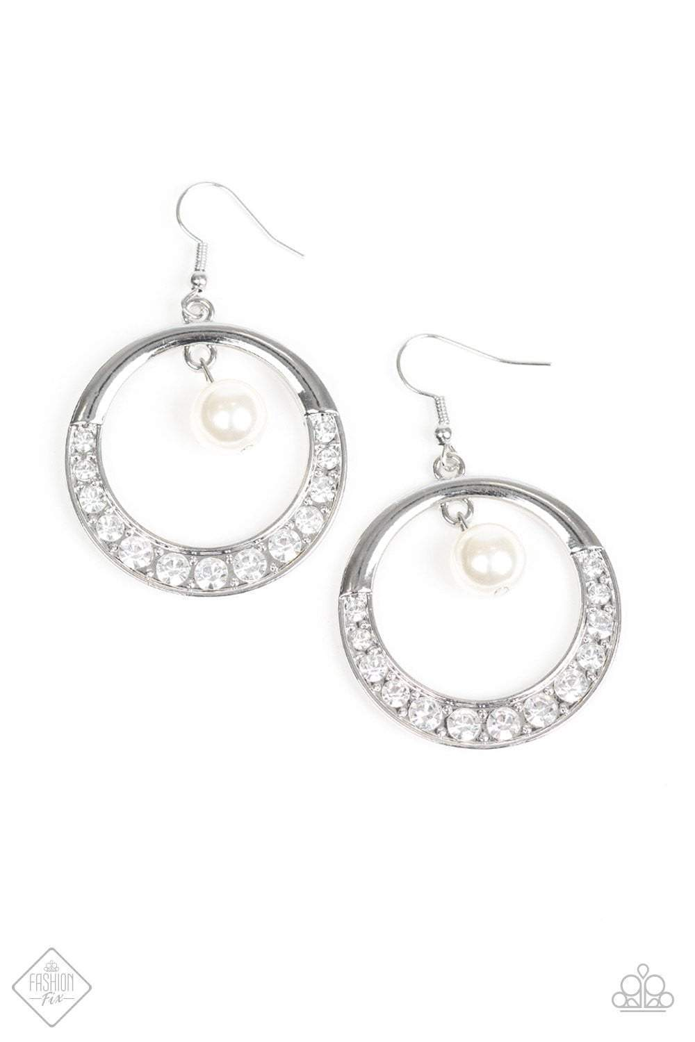 Paparazzi The Icon-ista - White Pearl White Rhinestone Silver Hoop Earrings - Bling It On Online