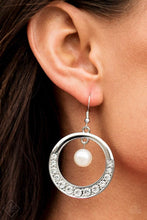 Load image into Gallery viewer, Paparazzi The Icon-ista - White Pearl White Rhinestone Silver Hoop Earrings - Bling It On Online
