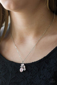 Paparazzi Time To Be Timeless - Pink and White Rhinestone Silver Necklace - Bling It On Online