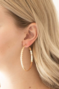 Paparazzi Totally Off The HOOP - Textured Gold Hoop Earrings - Bling It On Online