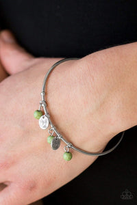 Paparazzi Totally Tahoe - Green Stone Etched Silver Disc Silver Bangle Bracelet - Bling It On Online