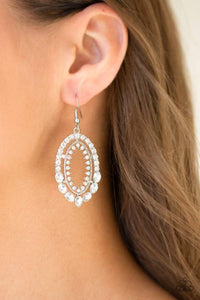 Paparazzi Trophy Shimmer - Round and Marquise White Rhinestone Double Hoop Frame Earrings - Bling It On Online