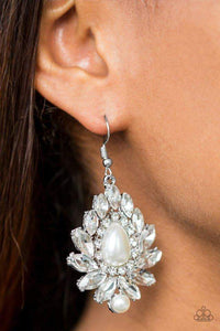Paparazzi Trophy Trove - White Rhinestone White Pearl Center Earrings - Bling It On Online