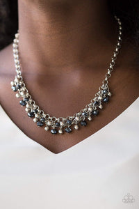 Paparazzi Trust Fund Baby - Faceted Blue and Silver Bead Fringe Silver Chain Necklace - Bling It On Online