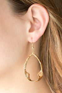 Paparazzi Twist Me Round - Textured Twisting Gold Teardrop Earrings - Bling It On Online
