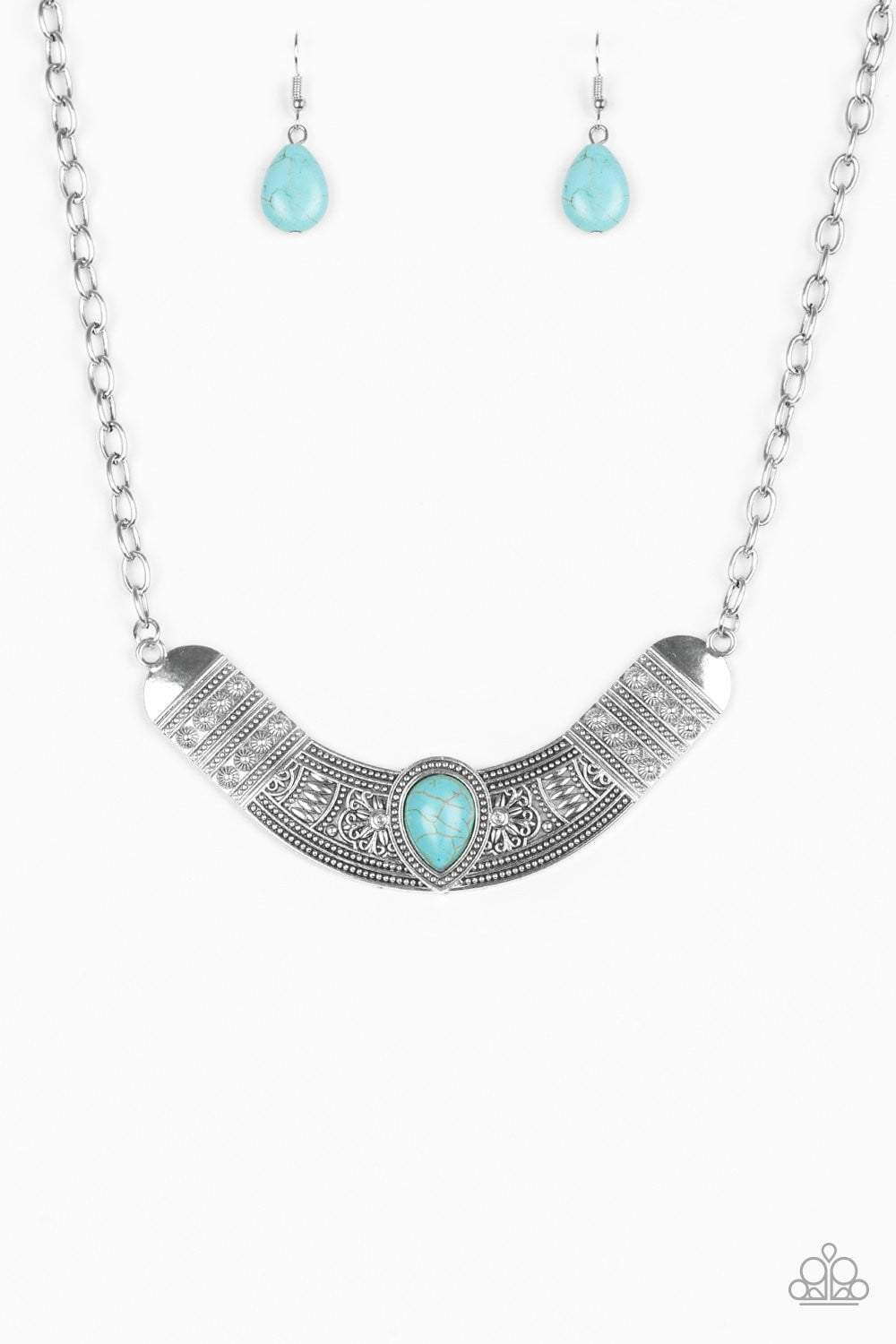 Paparazzi Very Venturous - Embossed Silver Crescent Turquoise Teardrop Stone Necklace - Bling It On Online
