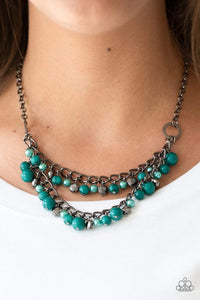 Paparazzi Watch Me Now - Pearly Green Bead Gunmetal Necklace - Bling It On Online