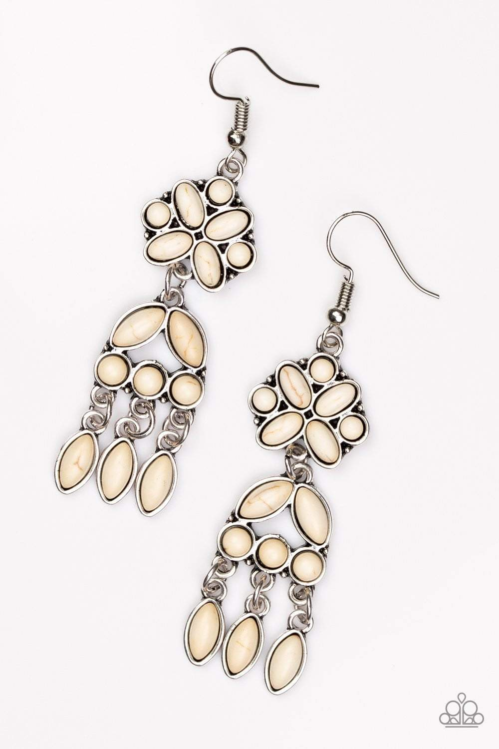 Paparazzi Which Way West - Round Oval Marquise White Stone Stacked Silver Lure Earrings - Bling It On Online