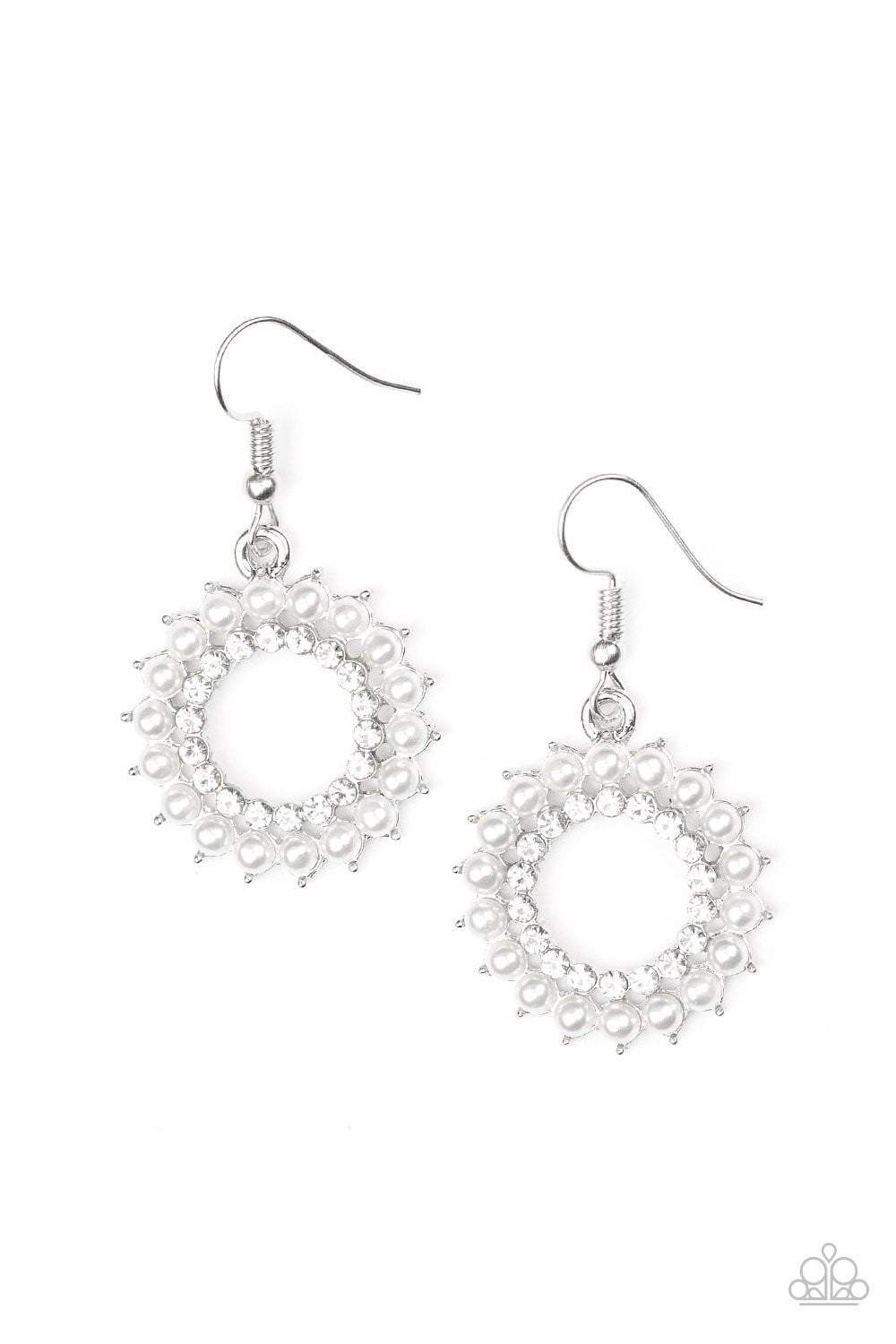 Paparazzi Wreathed In Radiance - White Pearl White Rhinestone Center Hoop Earrings - Bling It On Online
