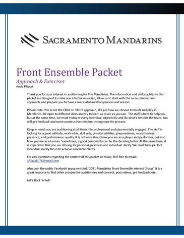 2021 - Percussion Audition Packet - Front Ensemble