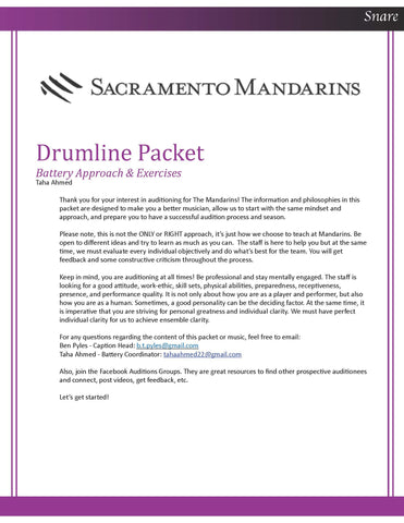 2021 - Percussion Audition Packet - Snare