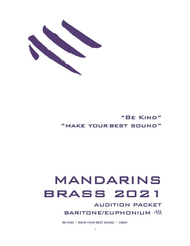 2021 - Brass Audition Packet - Bari/Euph