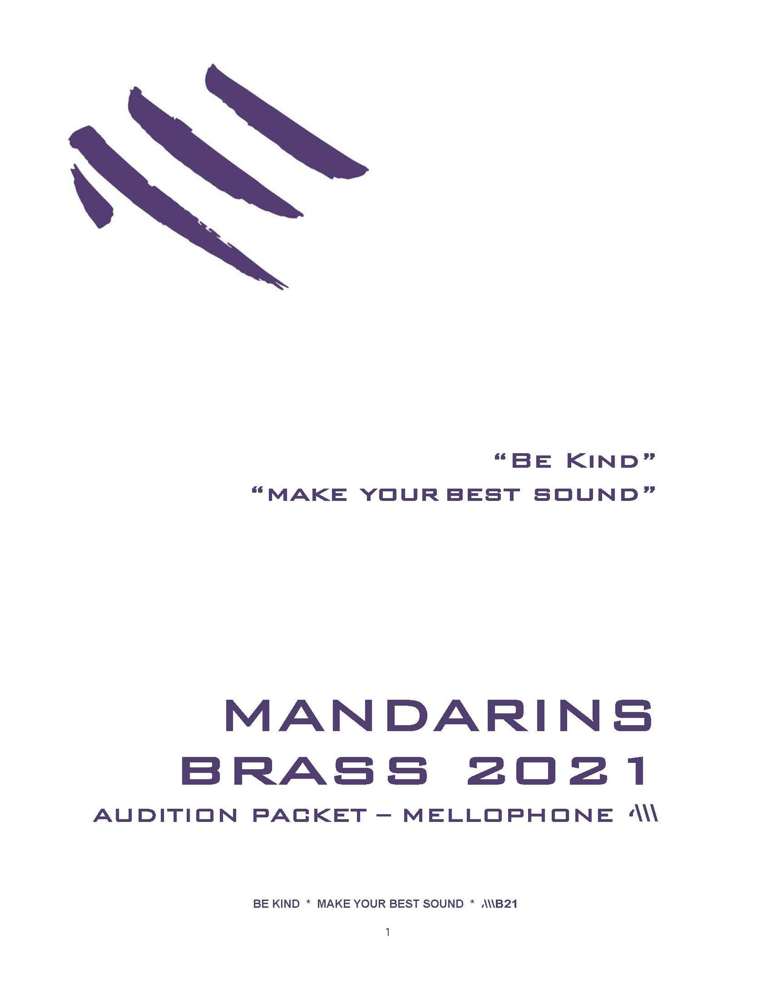 2021 - Brass Audition Packet - Mellophone