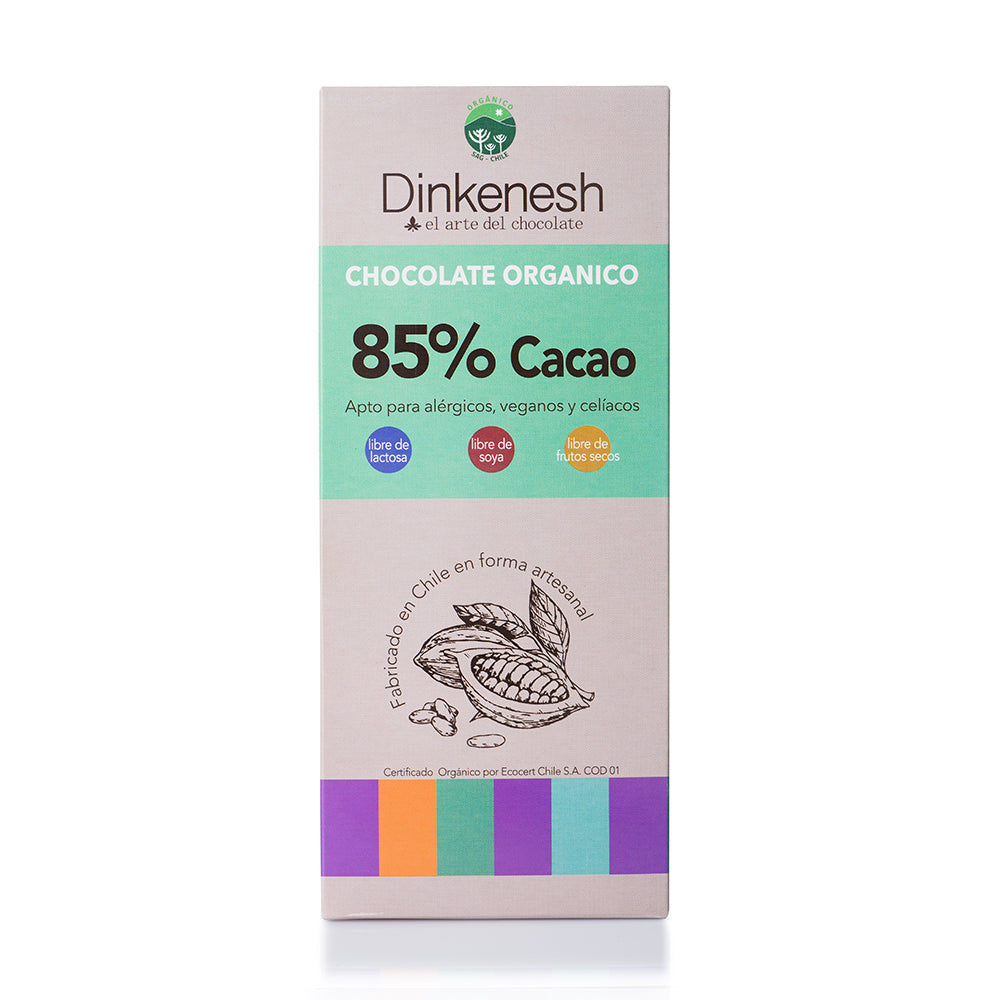 Barras de Chocolate Orgánico, (Version 85% de cacao) <br/> 100grs