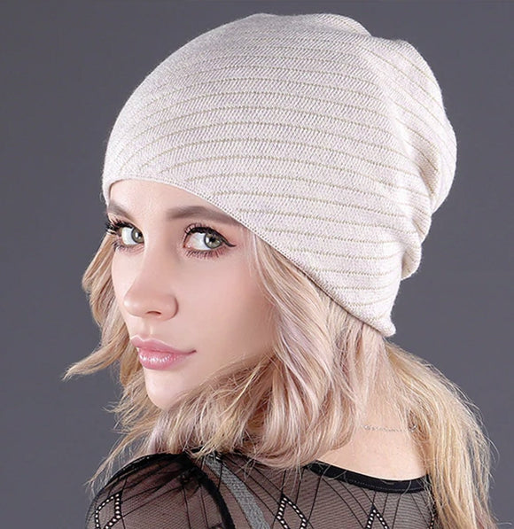 Soft cashmere gold line knitted women's winter hat beanies fashion skullies