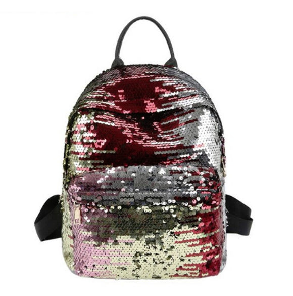Sequins women PU backpacks glitter travel shoulder bags fashion school bag