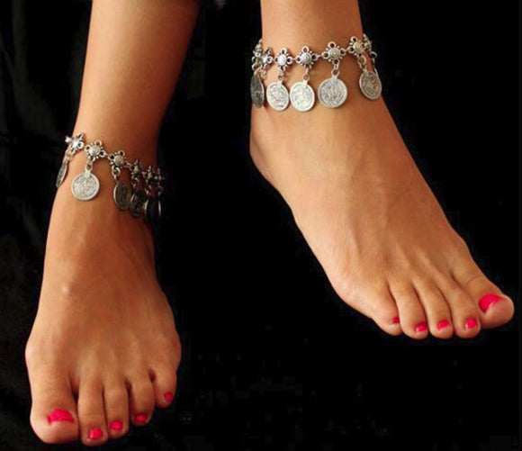 Bohemian Coin Anklets Foot Jewelry Charms Chain Ankle Bracelet