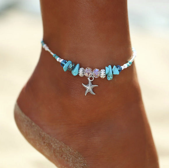 Bohemian Starfish Beads Stone Anklets Chain Ankle Bracelet Fashion Jewelry