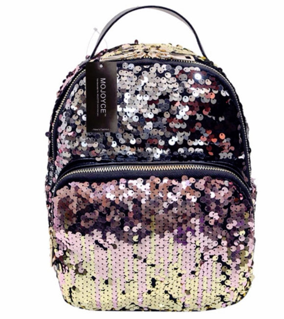 New Arrival Women Bag PU Leather Sequins Small Travel Bling Backpack