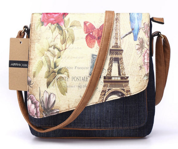 Eiffel Tower Print Vintage Fashion Denim Crossbody Shoulder Bag