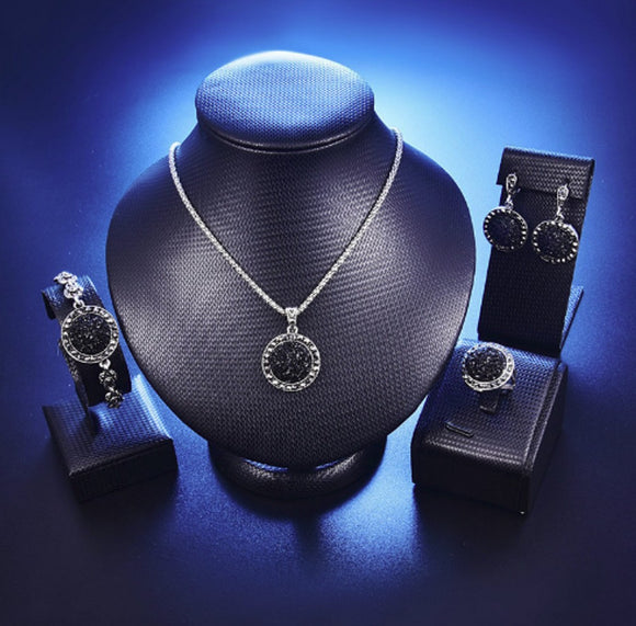 Black Broken Stone Wedding Jewelry Sets