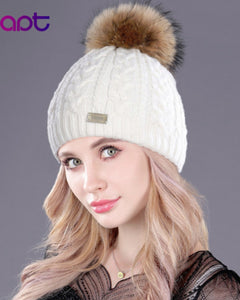 Soft Cashmere Women's Knited Winter Cap Skullies Beanies Fur Pom Pom Hats