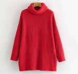 Winter Fashion Knitted Sweater Dark Red Turtleneck Pullover