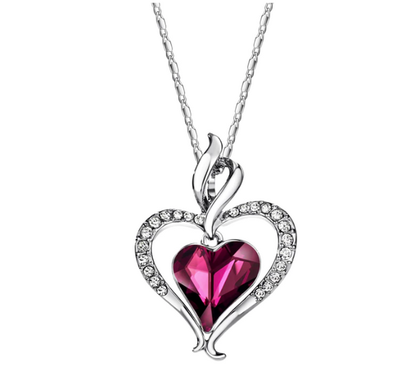 Valentines Day Rhinestone Heart Pendant Necklaces