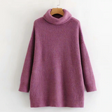 Winter Fashion Knitted Sweater Purple Turtleneck Pullover
