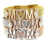 Stainless Steel Mesh Love MOM Bracelets Bangles