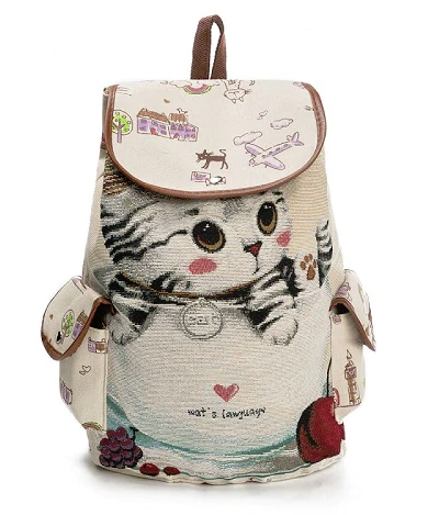 Cute Cat Women Canvas Large Capacity High Quality Backpack