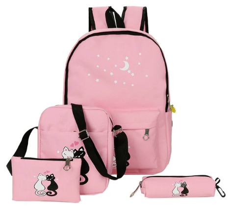 4Pcs Canvas Women Backpacks Cute Cat Print School Bag